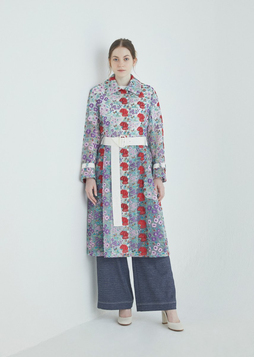 Flower multi-color embroidery convertible collar coat