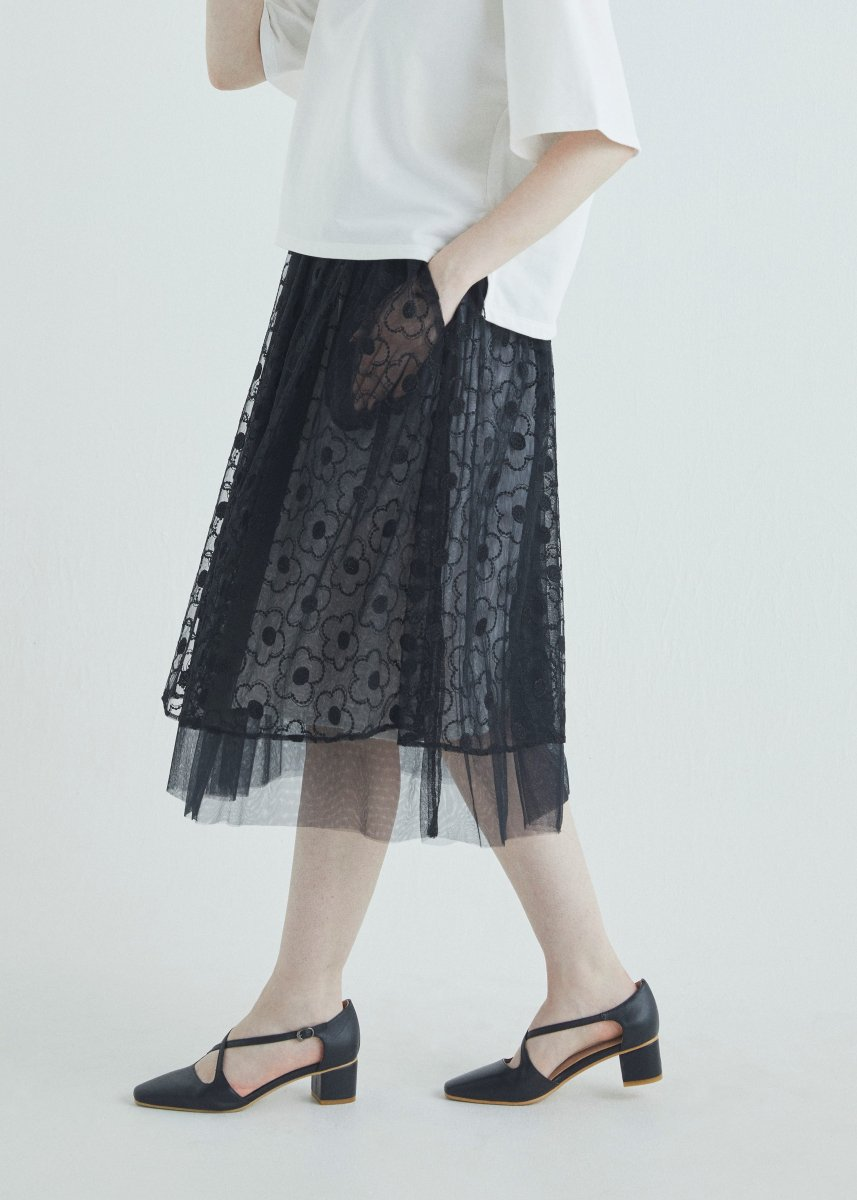 Glitter embroidery tulle skirt