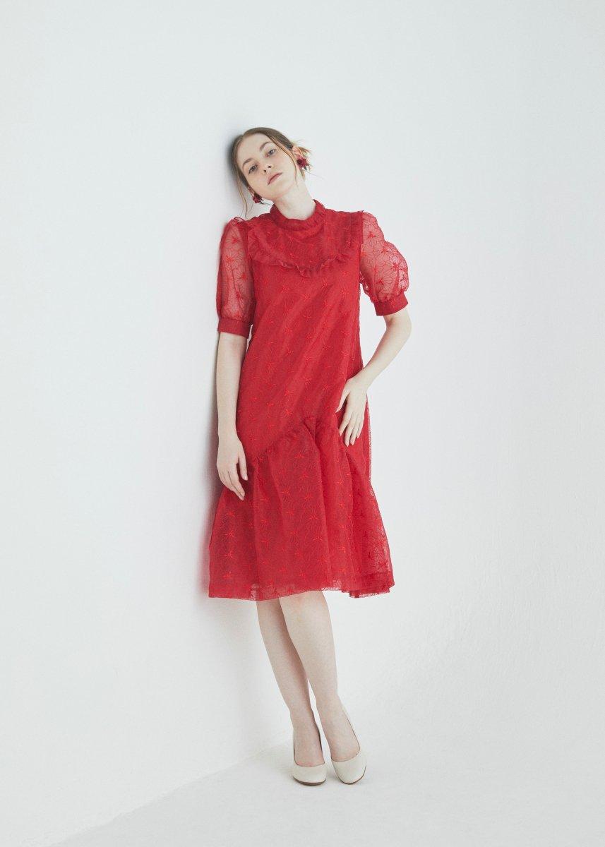 Stand frilled short sleeve dress