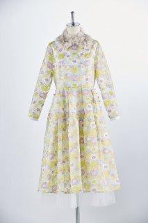 Multi flower embroidery dress※ファーティペット付