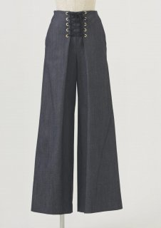 Lace-up wide pants