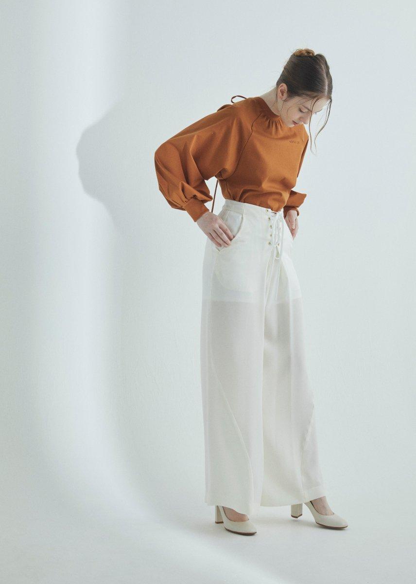Lace-up wide pants