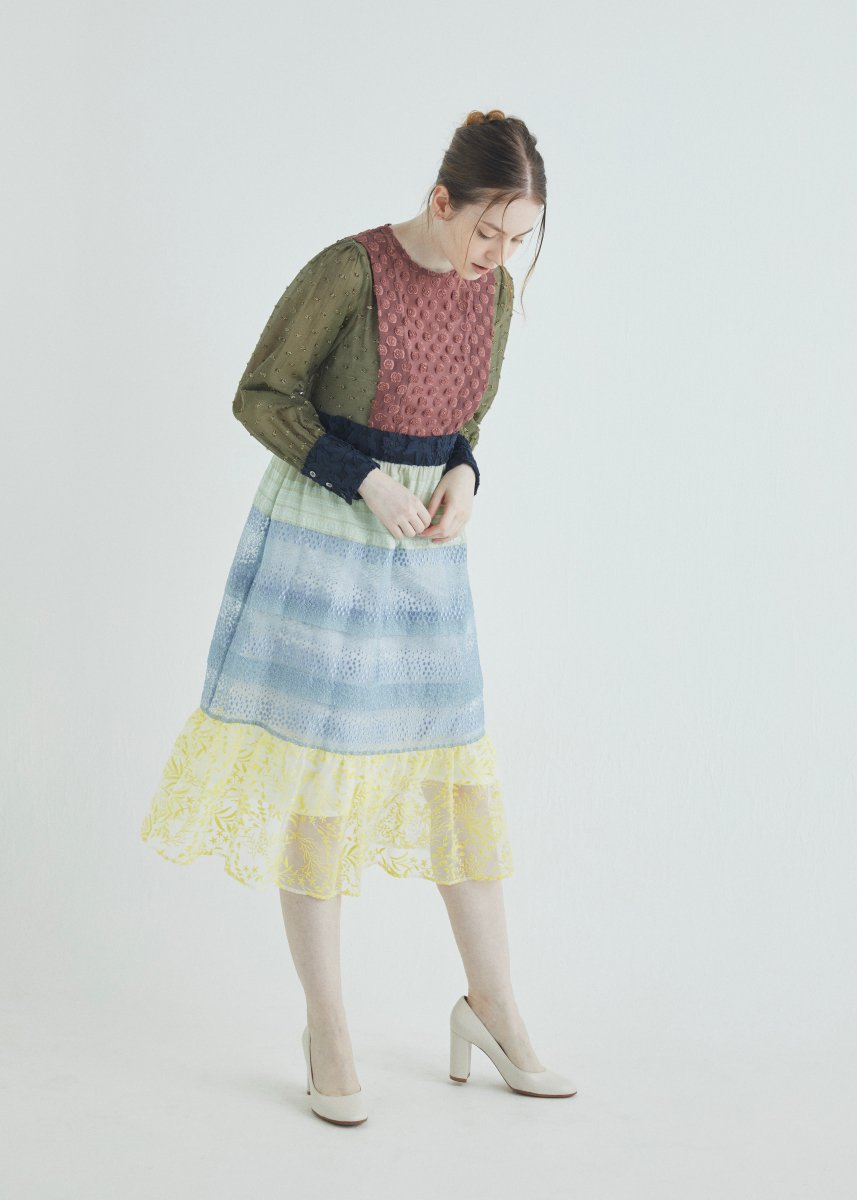 Patchwork switched tiered dress