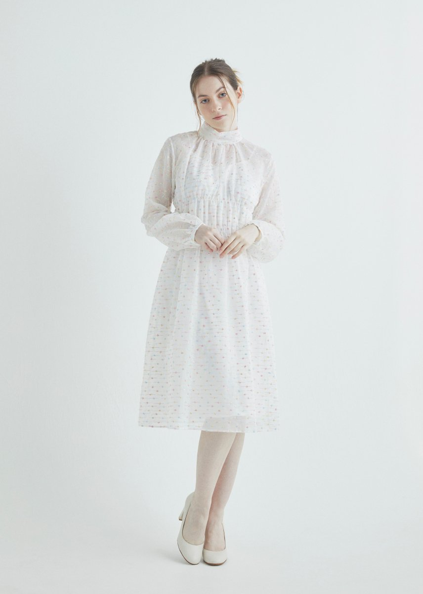 Mix dot embroidery high neck shirring dress