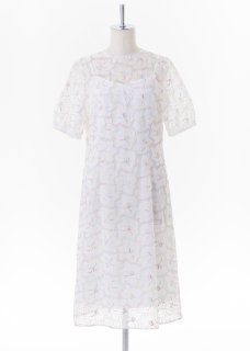 Color flower embroidery short sleeves A line dress