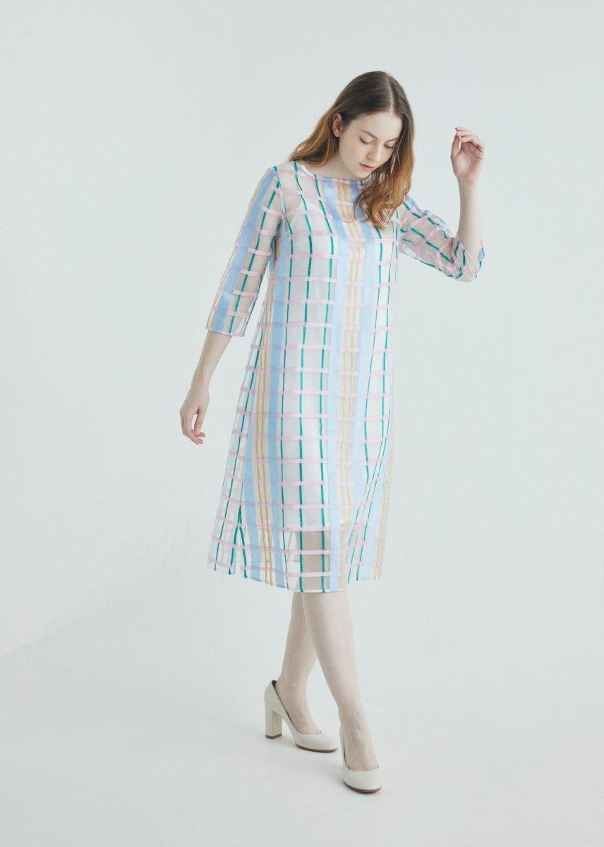 Color plaid A line dress