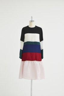 Color panel stripe dress