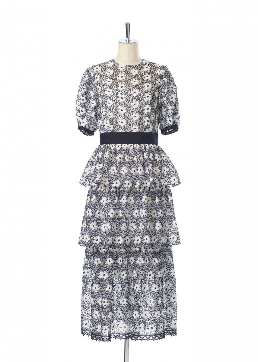 Three steps frilled dress