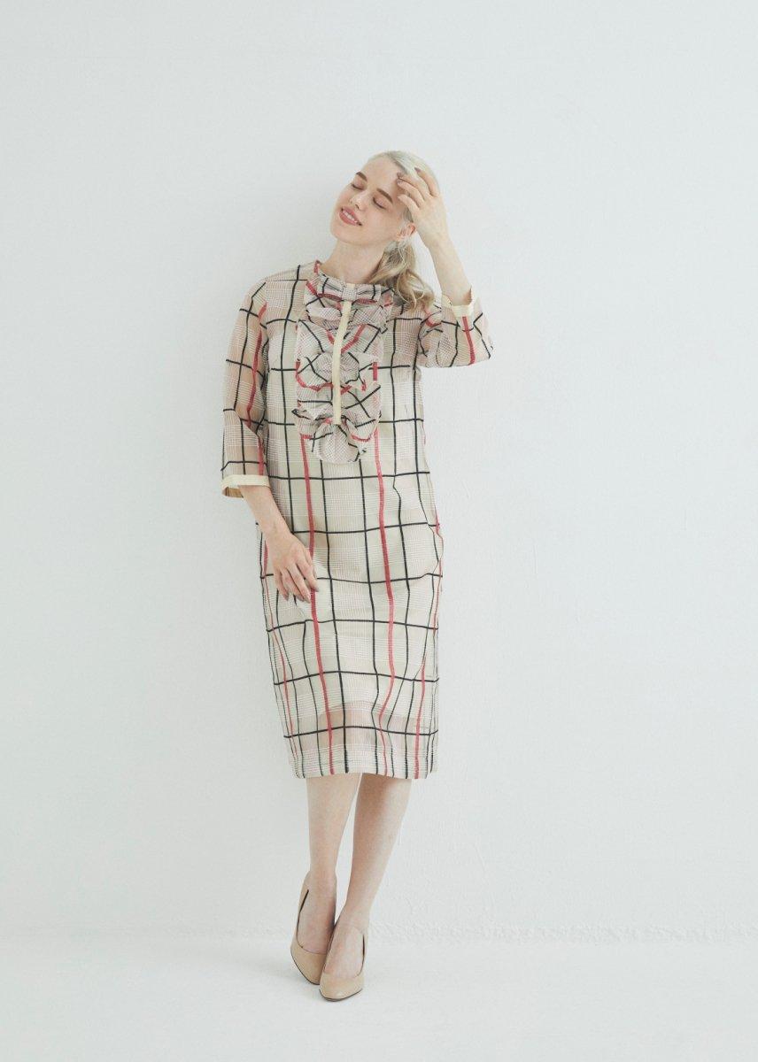 Front frilled bracelet-length sleeve dress