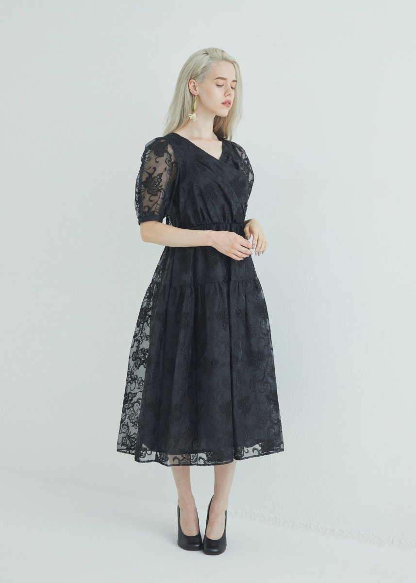 Cache-coeur tiered dress