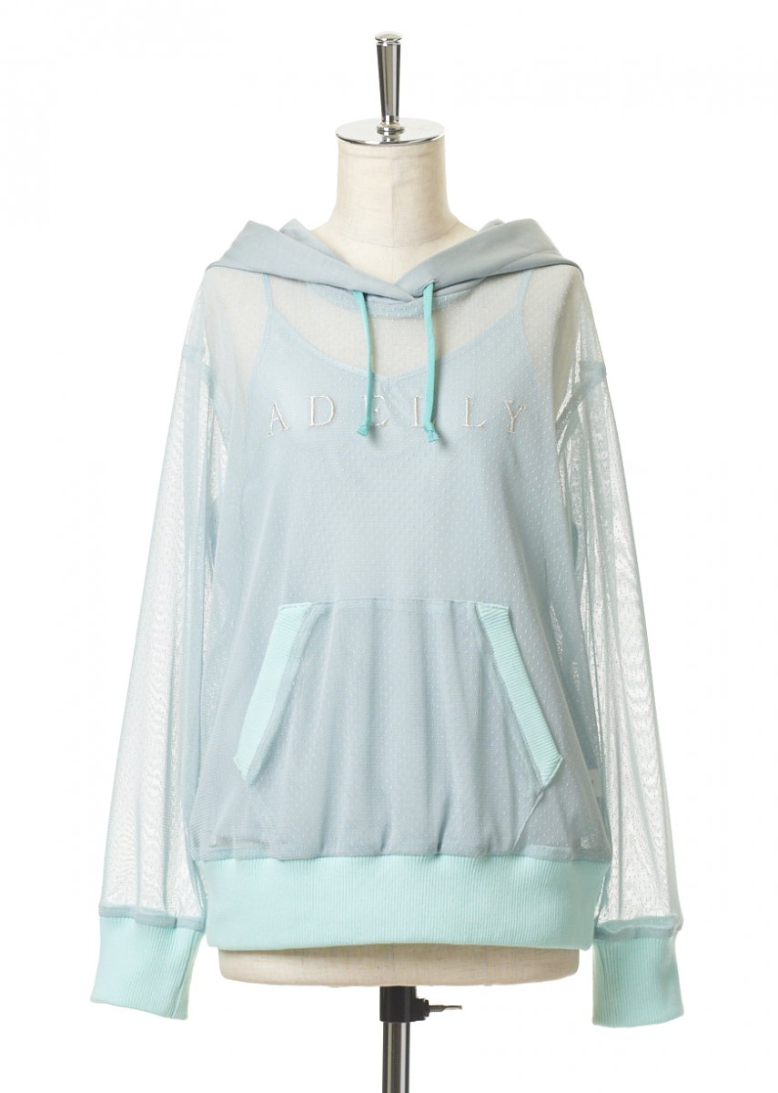 Embroidery tulle hoodie
