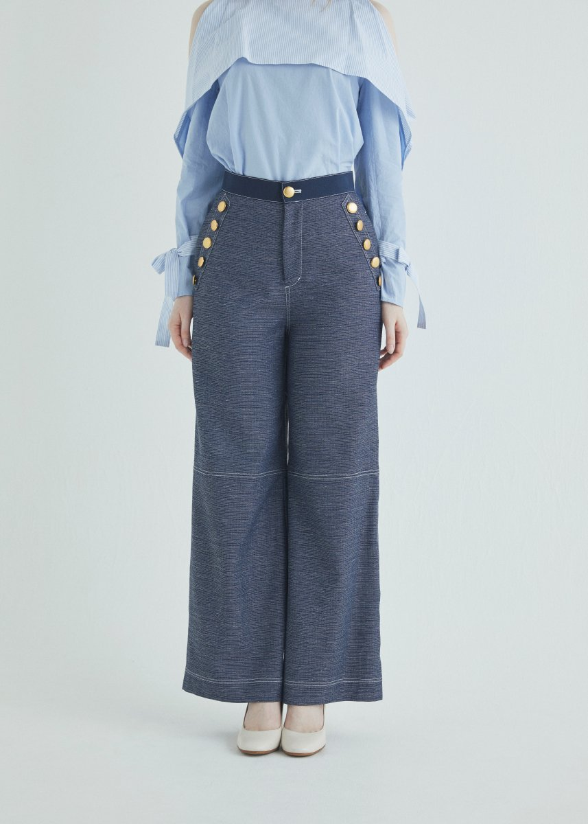 Button soft wide pants