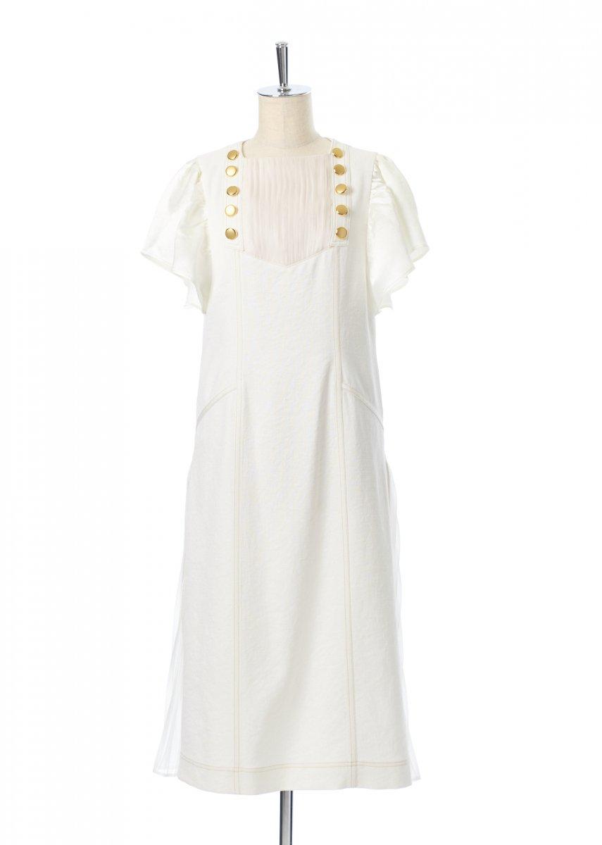 Button tucks pleats dress