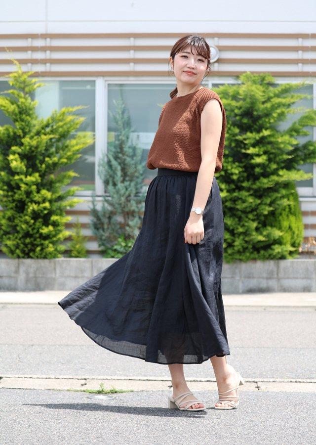 【SALE】リネンミモレ丈スカート