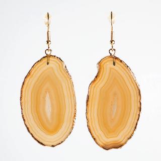 メノウ(瑪瑙・ブラウンC) 天然石 ドロップピアス/イヤリング-ゴールドカラー