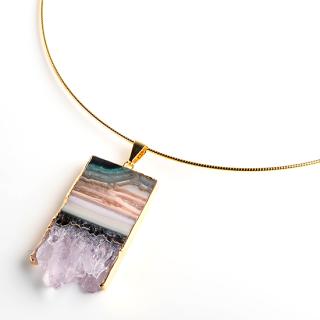 アメジスト(紫水晶・パープルA) 天然石 チョーカーネックレス-ゴールドカラー