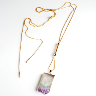 アメジスト(紫水晶・パープルA) 天然石 ロングネックレスEタイプ-ゴールドカラー