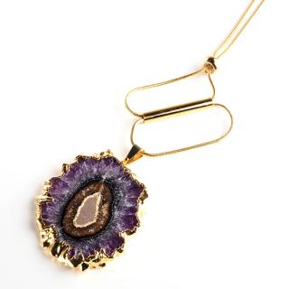 フラワーアメジスト(紫水晶・パープルA) 天然石 ロングネックレスFタイプ-ゴールドカラー