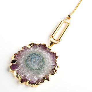 フラワーアメジスト(紫水晶・パープルA) 天然石 ロングネックレスDタイプ-ゴールドカラー