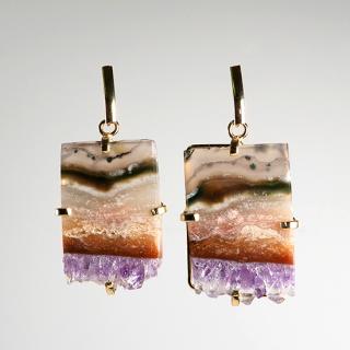 アメジスト(紫水晶・パープルB) 天然石 ドロップピアス/イヤリング-ゴールドカラー