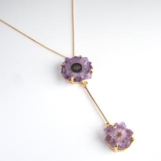 ダブルフラワーアメジスト (紫水晶・パープル) 天然石 ショートネックレス-ゴールドカラー