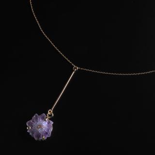 フラワーアメジスト (紫水晶・パープルA) 天然石 ショートネックレス-ゴールドカラー