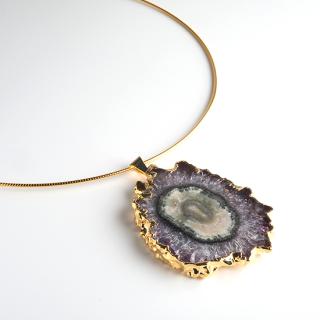 フラワーアメジスト (紫水晶・パープルB) 天然石 チョーカーネックレス-ゴールドカラー