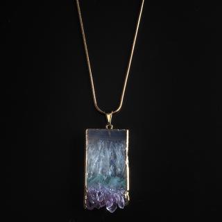 アメジスト(紫水晶・パープルA) 天然石 ロングネックレスBタイプ-ゴールドカラー