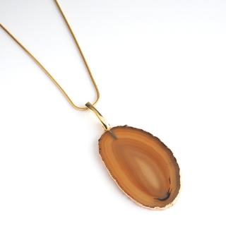 メノウ (瑪瑙・ブラウンA) 天然石 ロングネックレスBタイプ-ゴールドカラー