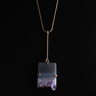 アメジスト(紫水晶・パープルB) 天然石 ロングネックレスBタイプ-ゴールドカラー