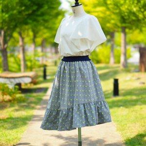 【もしもしカメよ】フランス製ジャカード 裾切替えジャカードスカート(ネオンカメジャカード)