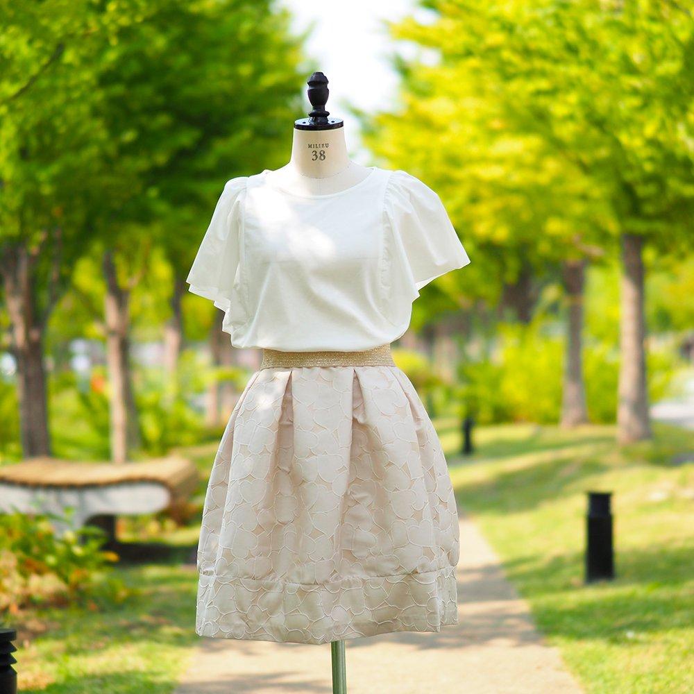 【溢れる想い】タックコクーンスカート(ハートジャカード)
