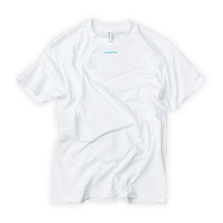 White summertime T-Shirt with Blue Text