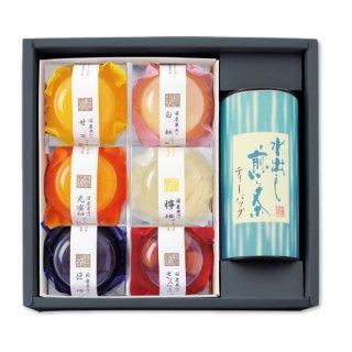 【贈答用】水出し煎茶ティーバック紙缶1本+フルーツゼリー