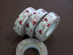 倉敷意匠 マスキングテープ15mm メッセージバード レッド 1巻