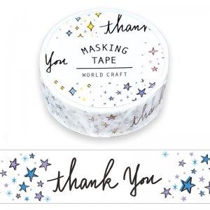 ワールドクラフト マスキングテープ(thank you)キラキラ