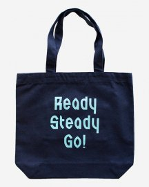 Ready Steady Go! Standard Logo Canvas tote bag Navy/Light blue