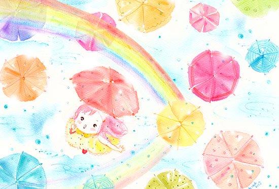 KINAイラストのほんわかポストカード「Rainbow」4枚組