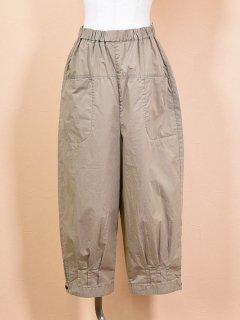 tumugu (ツムグ) ツイル ウエスト ゴム裾 タックパンツ