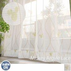 【2枚組カーテン】人気のミッキーシルエットのアーガイル柄レースカーテン 『ミッキーアーガイル レース』