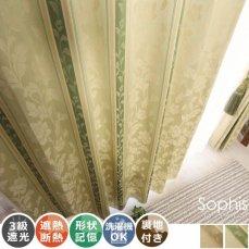 100サイズから選べる!裏地付きのエレガントな花柄ボーダーカーテン 『ソフィス グリーン』