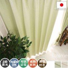 100サイズから選べる!裏地付きのボタニカル柄ドレープカーテン 『セリーヌ グリーン』
