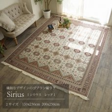 繊細な気品あふれるデザインのゴブラン織りラグ 【シリウス レッド】150x230cm
