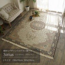 繊細な気品あふれるデザインのゴブラン織りラグ 【シリウス ブラック】150x230cm