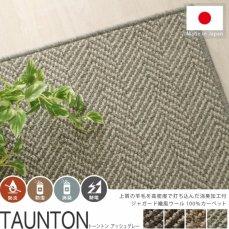 ジャガード織風ウール100%の100サイズカーペット【トーントン アッシュグレー】