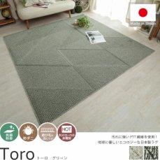 びっくりするほど汚れが落ちる高機能日本製デザインラグ『トーロ グリーン』