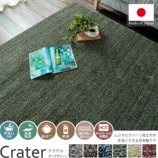 人気の日本製!ソフトでボリューム感のある高機能ミックスカラーラグ『クラテル ダークグリーン』