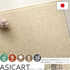 100サイズ 上質感のある高機能無染色ウール100%カーペット【アシカート アイボリー】