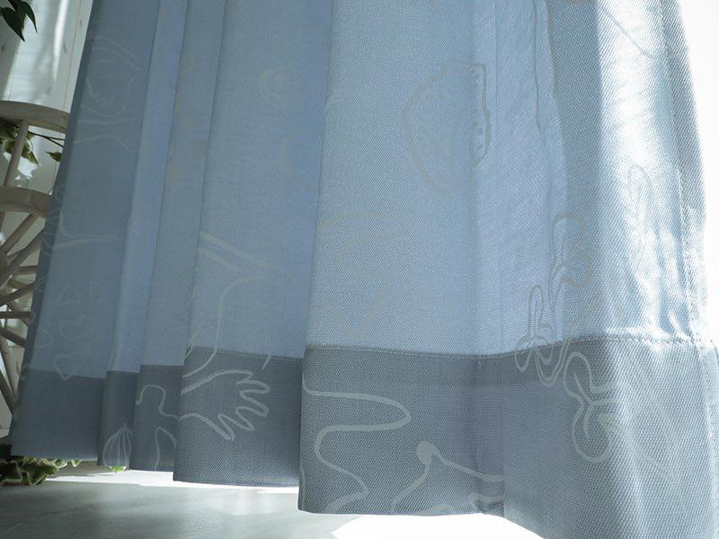 100サイズから選べる!ナチュラルな北欧デザインカーテン 『ランドオブハピネス ブルー』
