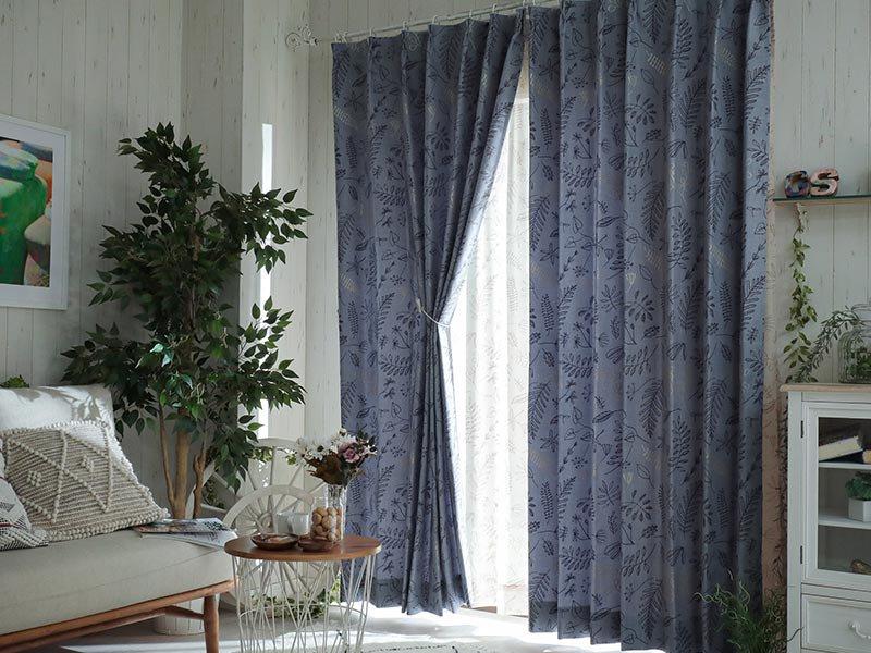 100サイズから選べる!ナチュラルな北欧デザインカーテン 『ブロッサム ブルー』